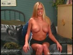 Glasses girl Cassie Young fondled by her man