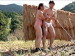 Mature busty Asian tramp taking teen horny schlong outdoor