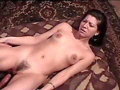 Drunk young chick with hairy cunt fucked