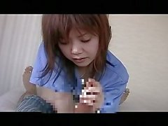 Asian teen gives handjob