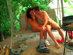 Sexy brunette teen gets banged hard in the garden