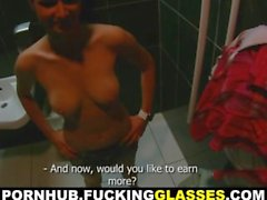 Fucking Glasses - Public restroom orgasm