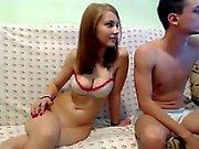 Gorgeous teen girl sucks cock in front of webcam