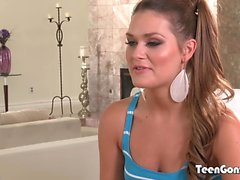 TEENGONZO Abby Cross gets rough ass creaming on the couch
