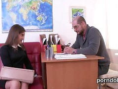 Sensual college girl is seduced and nailed by her elder scho