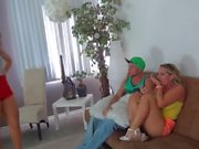 Stepsister blackmails brothers girlfriend into threesome