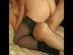 Big tits mature woman and young man blowjob before sex