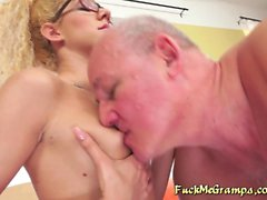 Blonde With Glasses Rides Gramps