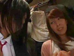 The taste of Japanese girl`s juice on dude`s lips made her hornier