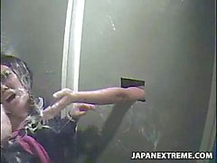 Japanese girl trapped on public toilet