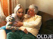 Tattooed hooker fucked by old man she swallows his cum