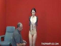 Teen painslut punished and whipped in the dungeon by her stern English master