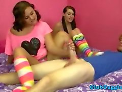Brunette teens tug a cock at slumber party