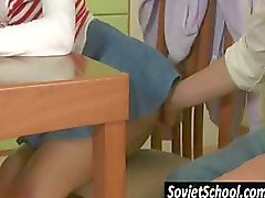 Russian schoolgirl gets seduced by horny friend who's tired of studying