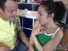 Petite Patricia receives a rough anal slamming