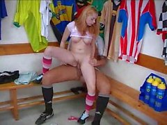 Cute blonde girl fucked by athlete