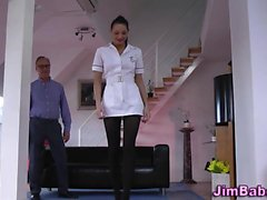 Stockings nurse spunked