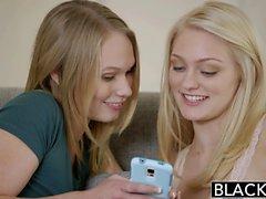 BLACKED Blonde Teens Alli Rae and Dakota James cum on a BBC