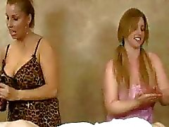 Horny Milf With Slutty Teen Take Turns Jerking