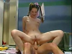 Adorable pigtailed teenager fucked hard