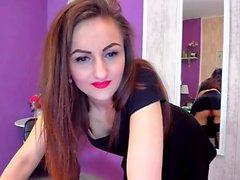 Webcam brunette in stockings dildo fucks herself