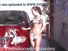 These babes give a carwash some fun by getting naked while doing it