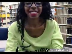 Black teen library flashing