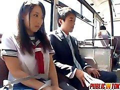 Japanese teen Mao Kurata fucks on a bus