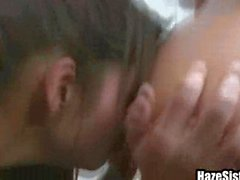 College teens at gym give each other oral