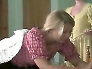 Old guy spanks young blondie