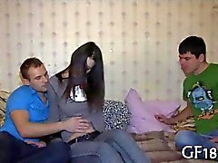 Slutty teen lets her cuckold boyfriend watch