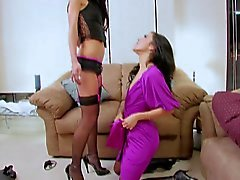 Naughty brunette seduces her friend into lesbian sex with