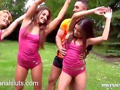 Teen gymnastics anal orgy!