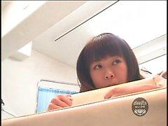 Young Asian girls in tartan miniskirts get their asses prob