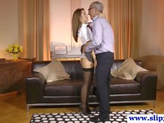 Amateur babe fucking old guy as a schoolgirl