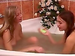 Beautiful Teen Girls Play In The Tub