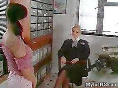 Nasty brunette babe gets spanked hard