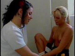Cheerleader and brunette have sex in shower