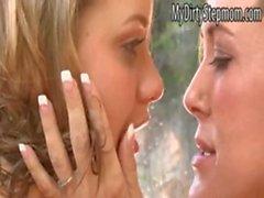 Mia and stepmom Brandi kiss and licking