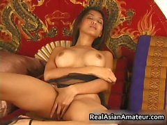 Big boobs asian stunner dildoing hairy