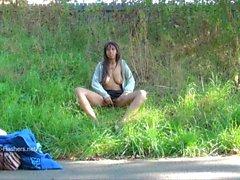 Ebony flasher Candy Canes outdoor masturbation and public
