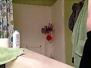 My teen girlfriend taking a hot shower