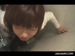 Sweet ass teen jap girl gets hairy muff fucked in a public toilet