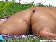 Sexy Thong Ass Bikini Girls Tanning Topless Beach Voyeur HD Video
