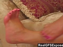 RealGfsExposed - This slut loves cum-coated cherries after some foot play.