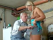Teeny and Granny share old Cock