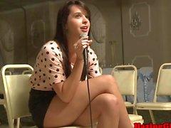 Aspiring sorority slut strips at an audition
