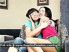 Sasha and Rose astonished lesbian teens undressing