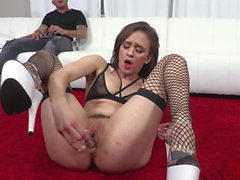 Insatiable anal slut sucks cock