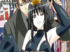 Brunette anime goes out and gets her pussy drilled in public